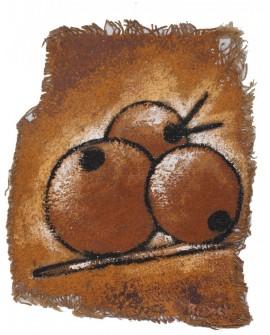 Peinture en toile de jute : Trois goyaves