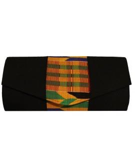 Pochette noire motif Kenté multicolore 2